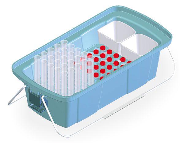 Укладка-контейнер УКП-50-01 для размещения и транспортировки пробирок и флаконов