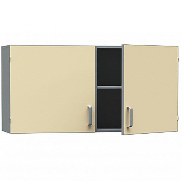 Шкаф медицинский из ДСП в пластике, навесной, двухстворчатый с распашными дверками БТ-ШН-100