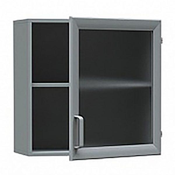 Шкаф медицинский из ДСП в пластике, навесной, дверка- стекло в алюминиевом профиле БТ-ШНС-60
