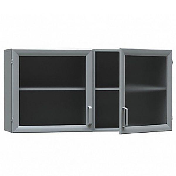 Шкаф медицинский из ДСП в пластике, навесной, дверки -стекло в алюминиевом профиле БТ-ШНС-100