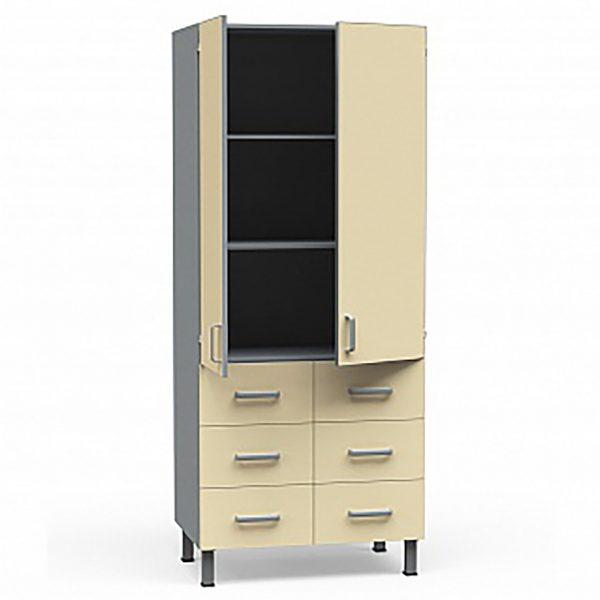 Шкаф медицинский из ДСП в пластике, с 6 ящиками и полками, БТ-ШДя-6-80